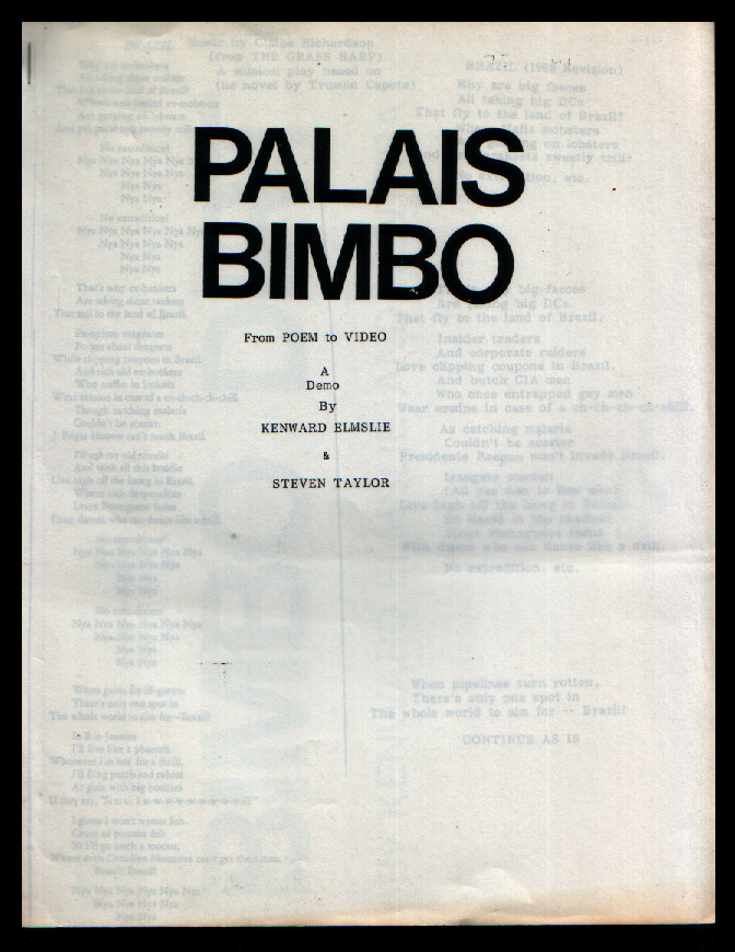 Palais Bimbo from Poem to Video. a Demo. Kenward Elmslie, Steven Taylor.