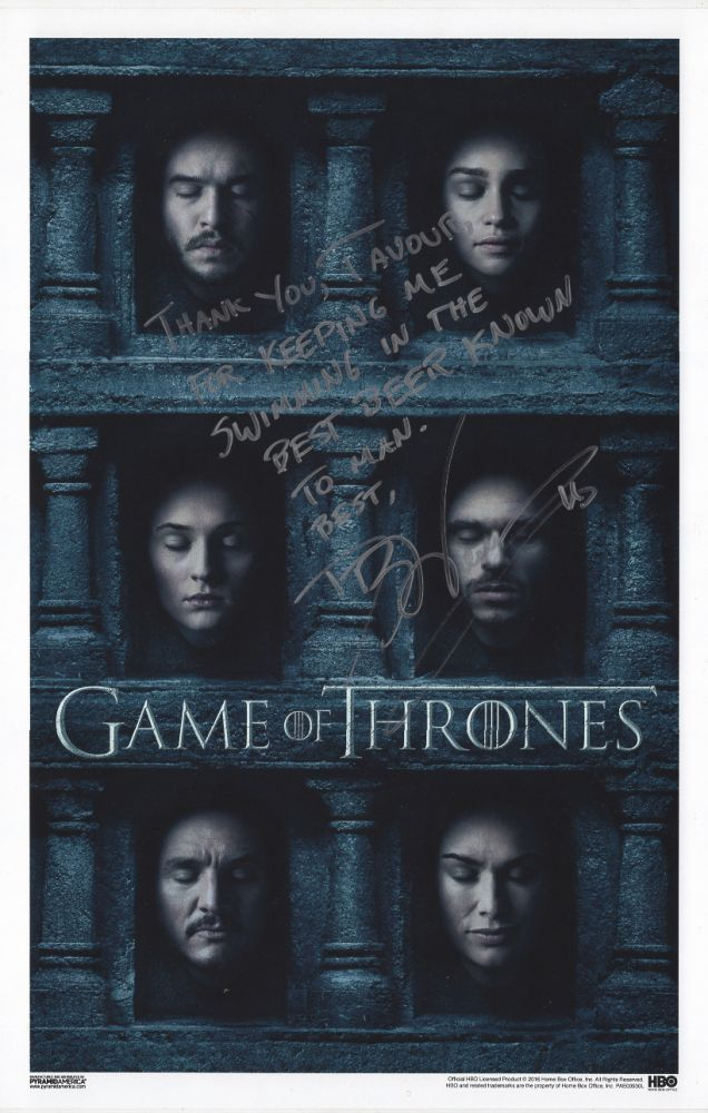 Game Of Thrones Season 6 Poster Signed George R R Martin D B