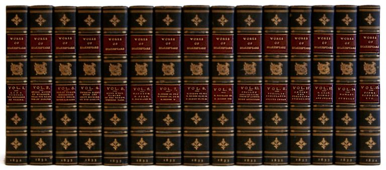 The Plays and Poems of Shakespeare, with a Life, Glossarial Notes, and One Hundred and Seventy Illustrations from the Plates in Boydell's Edition [15 Volumes]. William Shakespeare, A. J. Valpy.