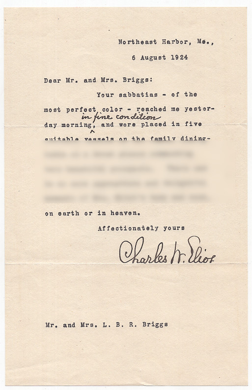 Typed Letter Signed from Charles W. Eliot to LeBaron Russell Briggs on the Death of Eliot's Wife. Charles W. Eliot.