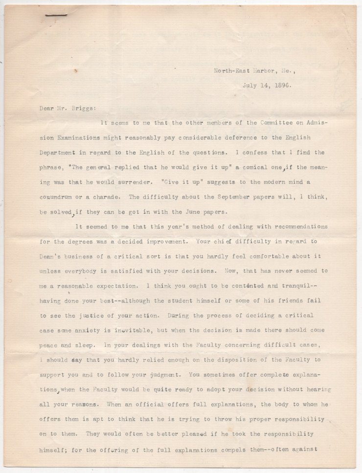 Typed Letter Signed from Charles W. Eliot to LeBaron Russell Briggs on Leadership and Poor English in Harvard's Admission Examinations. Charles W. Eliot.