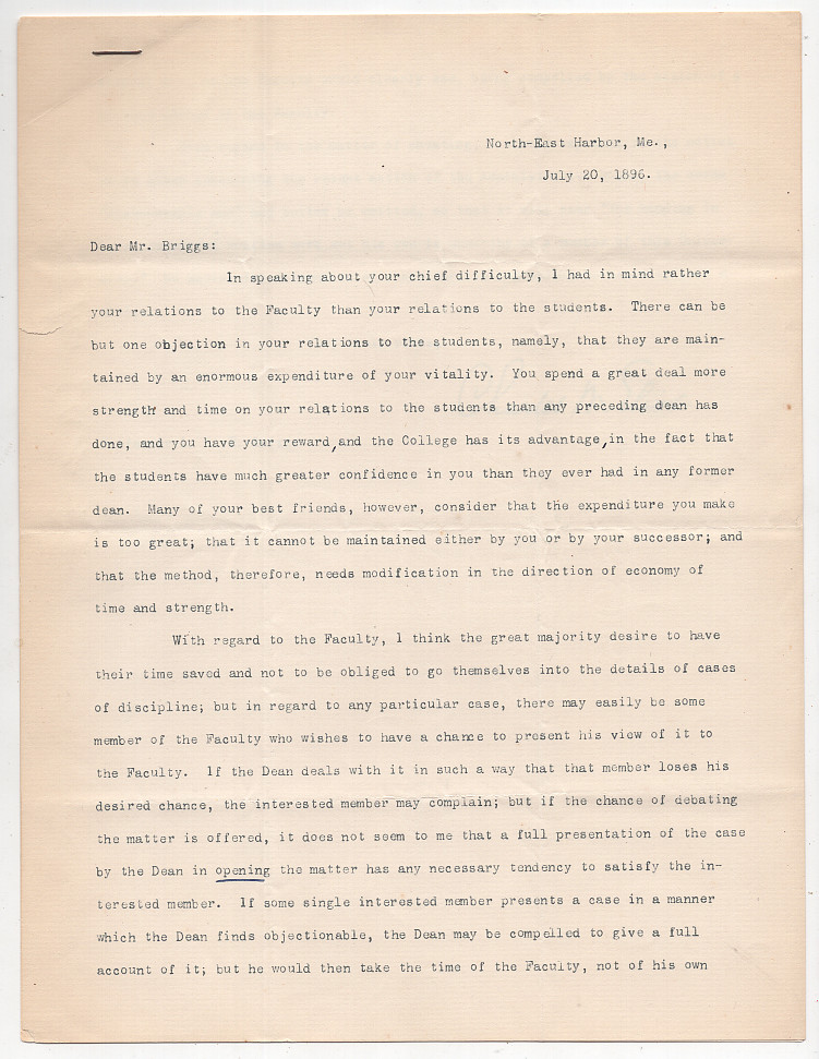 Typed Letter Signed from Charles W. Eliot to LeBaron Russell Briggs: On Leadership. Charles W. Eliot.