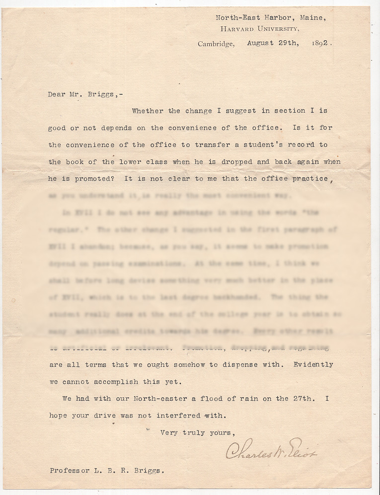 Typed Letter Signed from Charles W. Eliot to LeBaron Russell Briggs About Class Standing. Charles W. Eliot.