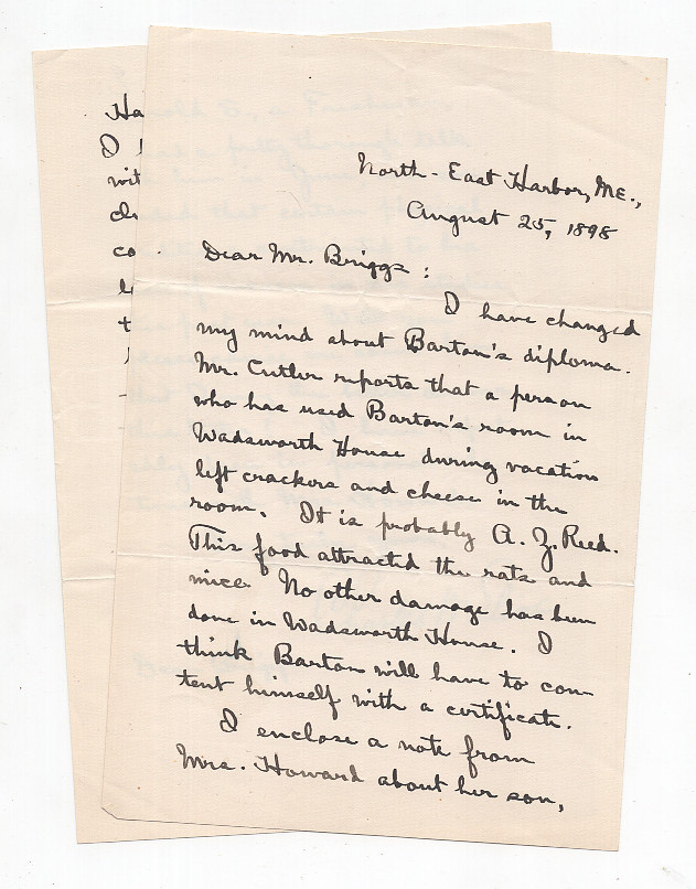 ALS from Charles W. Eliot to LeBaron Russell Briggs Discussing a Diploma Eaten By Rats. Charles W. Eliot.