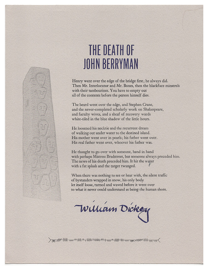 The Death of John Berryman. William Dickey.