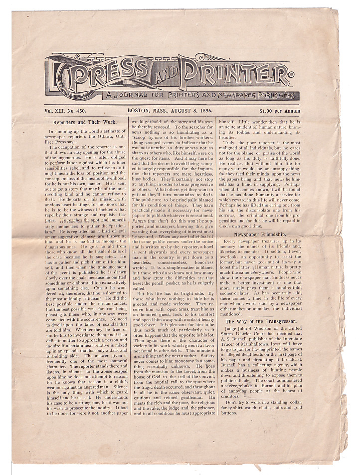 Press and Printer. a Journal for Printers and Newspaper Publishers. Volume XIII, No. 450. August 8, 1896. Ray Thompson.
