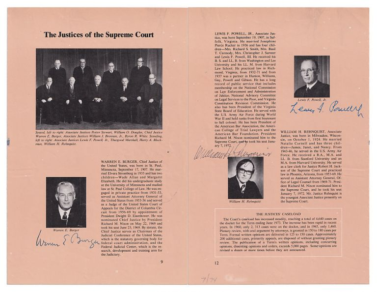 The Justices of the Supreme Court; Complete Autographs of the Burger Court from the Watergate Era, 1974. Supreme Court of the United States, Warren E. Burger, William H. Rehnquist, Lewis F. Powell Jr., William J. Brennan Jr., William O. Douglas, Thurgood Marshall, Byron R. White, Harry Blackmun, Potter Stewart, Burger Court.