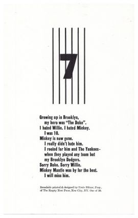 "Untitled / ""7"" [Growing Up in Brooklyn My Hero]. Ernie Blitzer"
