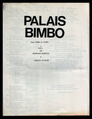 Palais Bimbo from Poem to Video. a Demo. Kenward Elmslie, Steven Taylor