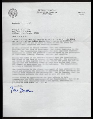 A Collection of Letters Written in 1987 From Nearly Every State Governor. Bill Clinton, Mario...