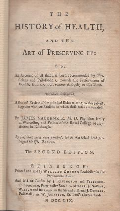 The History of Health and The Art of Preserving It