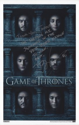 Game of Thrones Season 6 Poster Signed. George R. R. Martin, D. B. Weiss.