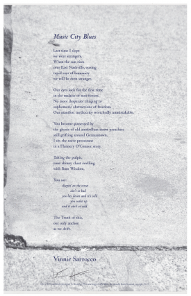 Music City Blues (Arundel Books Poetry Broadside). Vinnie Sarrocco, Fiore.