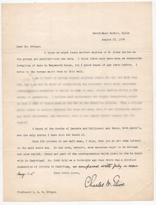 Typed Letter Signed from Charles W. Eliot to LeBaron Russell Briggs: Discussing a Diploma Eaten...