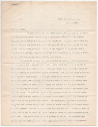 Typed Letter Signed from Charles W. Eliot to LeBaron Russell Briggs on Leadership and Poor...