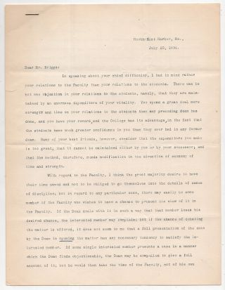 Typed Letter Signed from Charles W. Eliot to LeBaron Russell Briggs: On Leadership. Charles W. Eliot