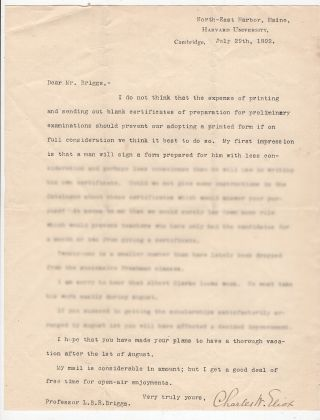Typed Letter Signed from Charles W. Eliot to LeBaron Russell Briggs:. Charles W. Eliot