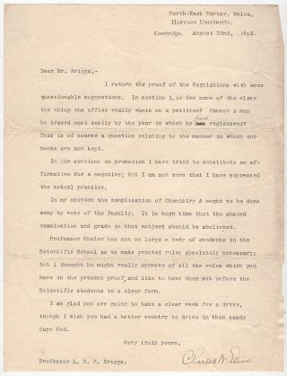 Typed Letter Signed from Charles W. Eliot to LeBaron Russell Briggs Advocating the Abolition of...