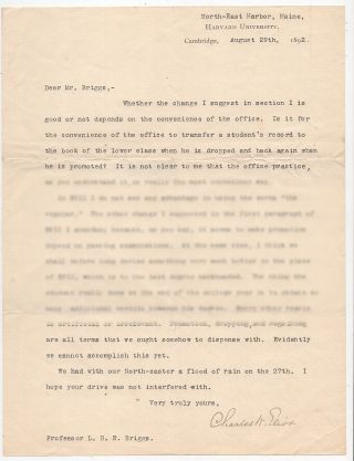 Typed Letter Signed from Charles W. Eliot to LeBaron Russell Briggs About Class Standing. Charles...