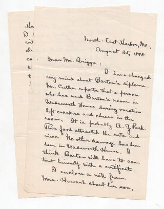 ALS from Charles W. Eliot to LeBaron Russell Briggs Discussing a Diploma Eaten By Rats. Charles...