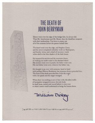 The Death of John Berryman. William Dickey