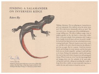Finding a Salamander on Inverness Ridge. Robert Bly