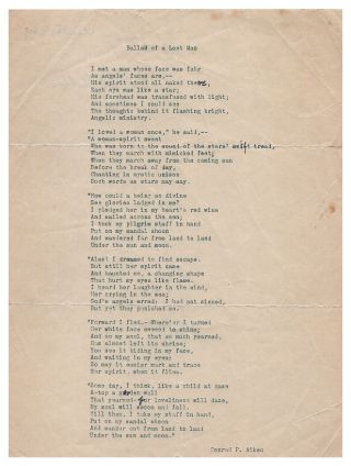 Ballad of a Lost Man. Typed Manuscript Poem. Conrad Aiken