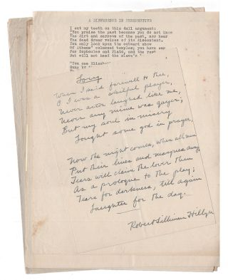 Collection of Manuscript and Typescript Poems. Robert Silliman Hillyer