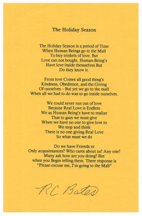 The Holiday Season. R. C. Bates