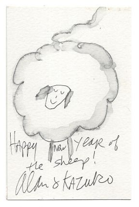 Original Ink and Watercolor New Year's Card Year of the Sheep (or Goat) 2015. Alan Chong Lau