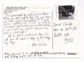 Autograph Postcard Signed to Author David Shields. Don DeLillo