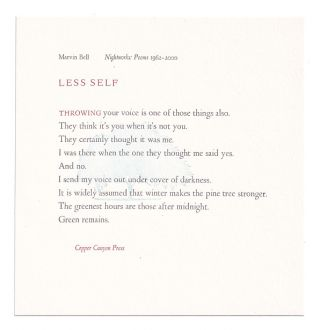 Less Self. Marvin Bell