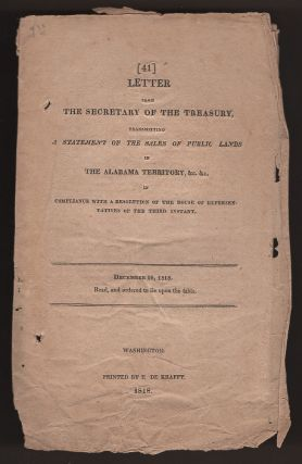 Letter from the Secretary of the Treasury, Transmitting a Statement of the Sales of Public Lands...